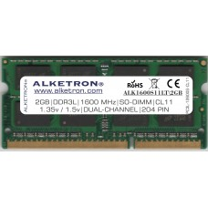 ALKETRON® DDR3L(1.35v/1.5v) RAM for Laptop - 2GB 1600MHz SODIMM - Dual Channel- PC3L 12800s - CL11 - 204PIN