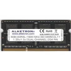 ALKETRON® DDR3L(1.35v/1.5v) RAM for Laptop - 4GB 1600MHz SODIMM - Dual Channel- PC3L 12800s - CL11 - 204PIN - BLACK UNICORN Series